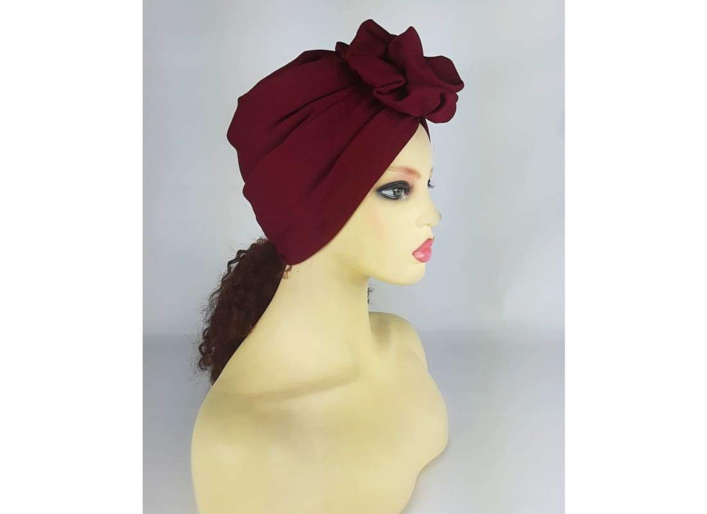 Rose Top Turban Hat - One Size / Yellow - Turban Cancer Turban Hat,Chemo Hat,Fashion Turban,Hair Accessories,Handmade