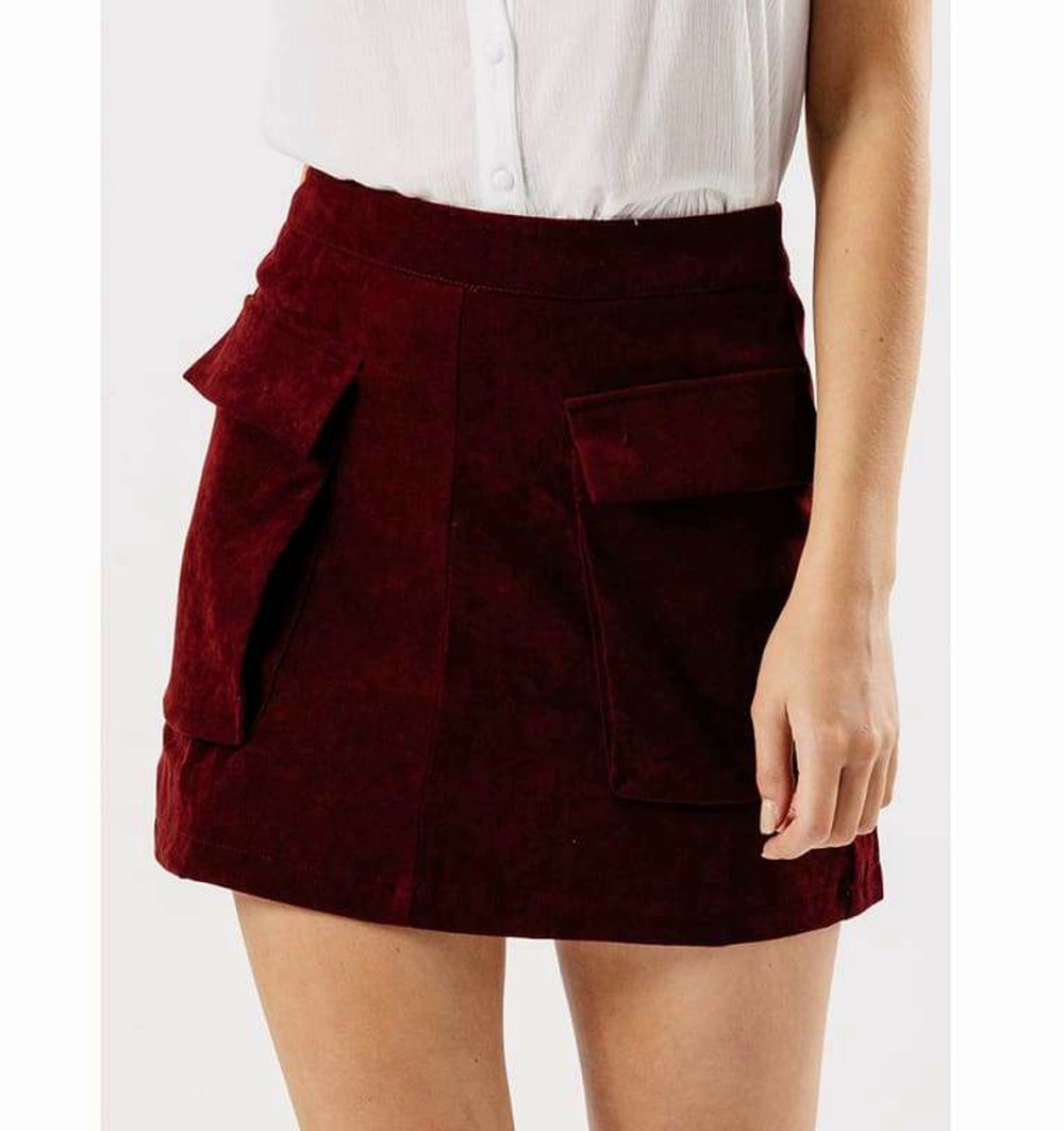 Masala Suede Skirt With Pockets