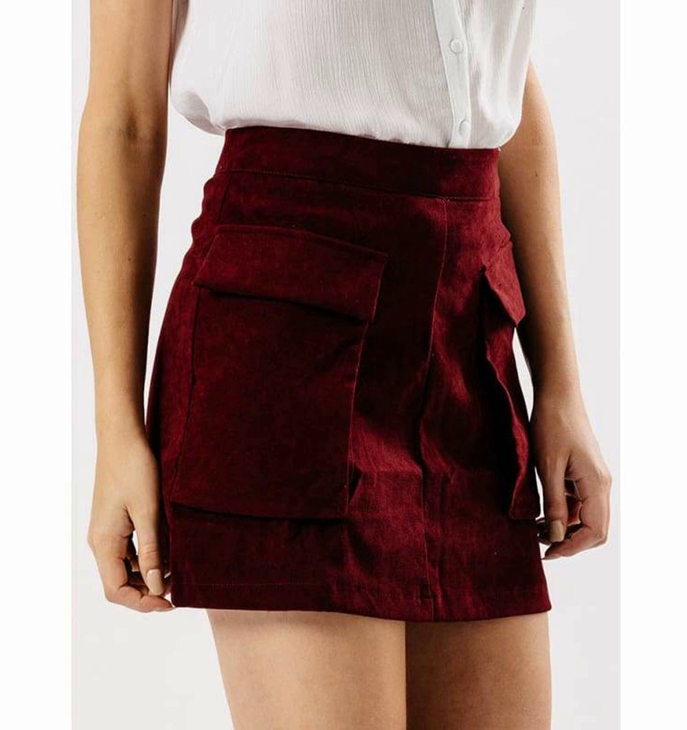 Masala Suede Skirt With Pockets - 8/Maroon