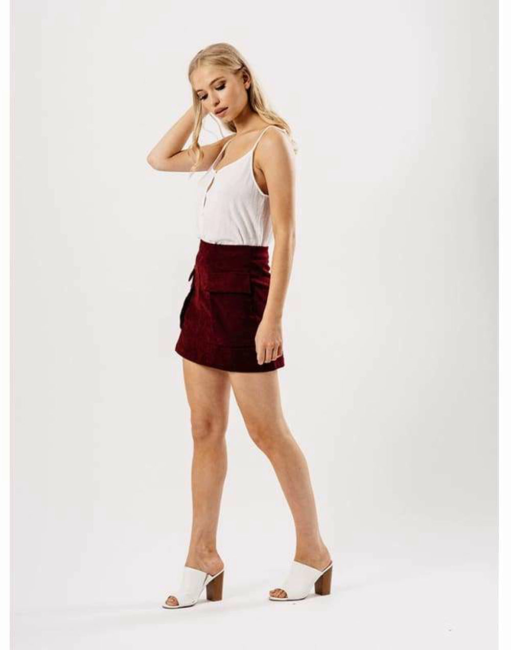 Masala Suede Skirt With Pockets - 10/Maroon