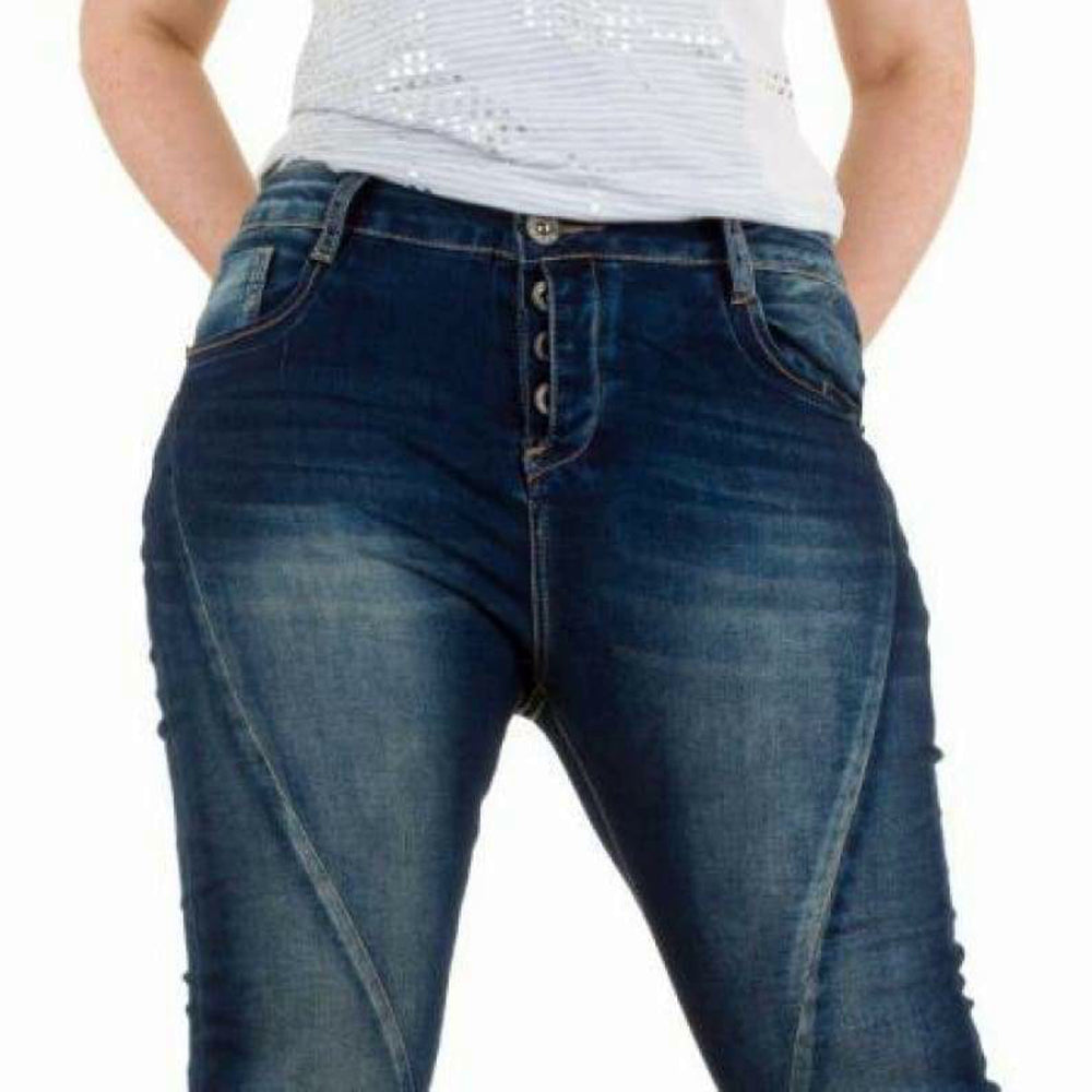 Mid Washed Jeans with Unique Cut lines - Plus Size Jeans & Jeggings asymmetric jeans trousers, blue, denim jeans, jeans, mid wash jeans