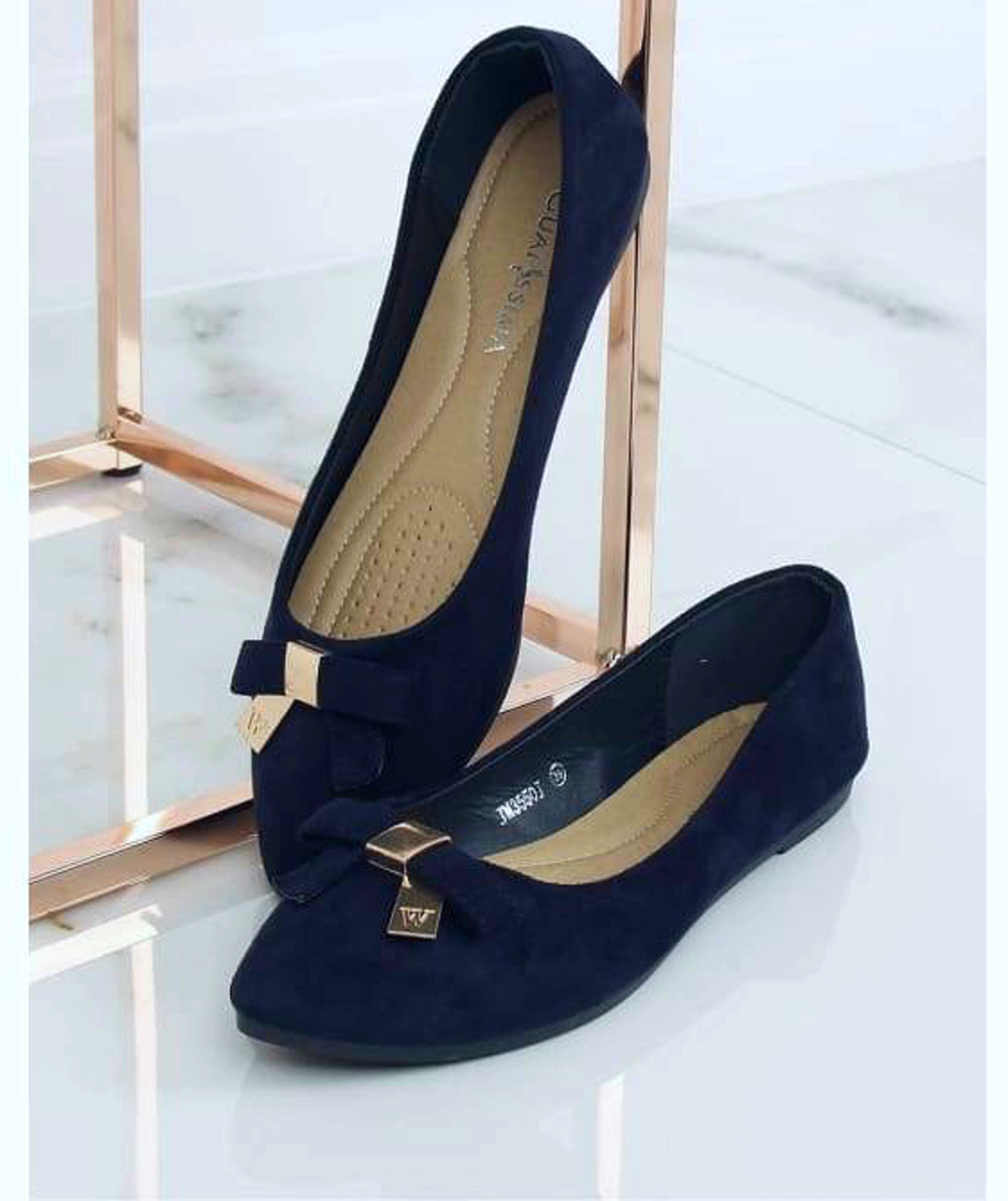 Navy Blue Flat Pumps with a Bow - Footwear Ballet, ballet flats, Ballet flats Inello (128375), Ballet Pumps, ballet pumps for women