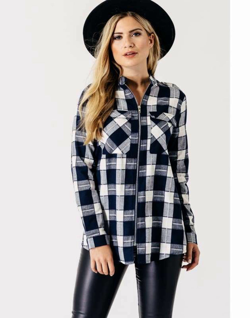 Navy White Check Zip Through Shirt - Tops & Shirts black blue shirts checked print shirts influence itpm6931