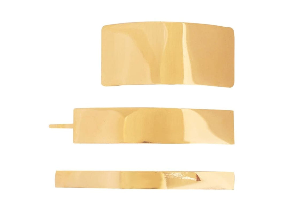 Pack of 3 Rectangle barrette Hair Clip - Gold - Hair Accessories Bags & Accessories Banner Hair Barrette Gold Hair Accessories Hair Barrette