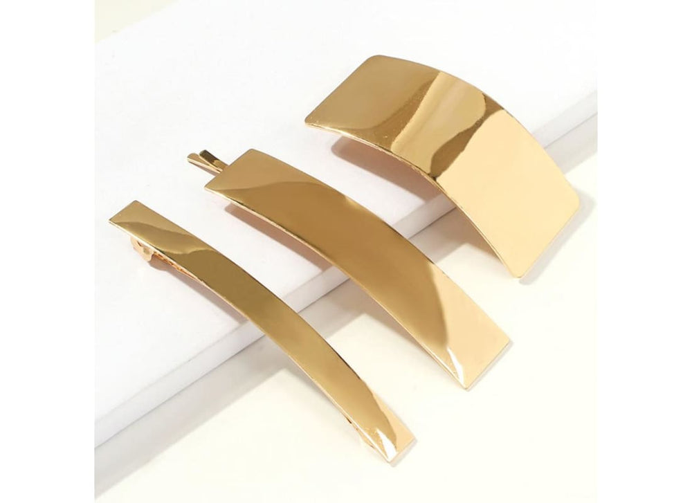 Pack of 3 Rectangle barrette Hair Clip - Hair Accessories Bags & Accessories Banner Hair Barrette Gold Hair Accessories Hair Barrette Clip