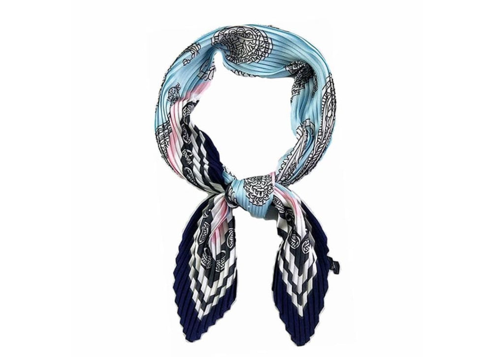 Paisley Silk Scarf - One Size / Blue - Scarves Bags & Accessories Blue Scarf Border Print Scarf Hair Accessories Multifunction scarf