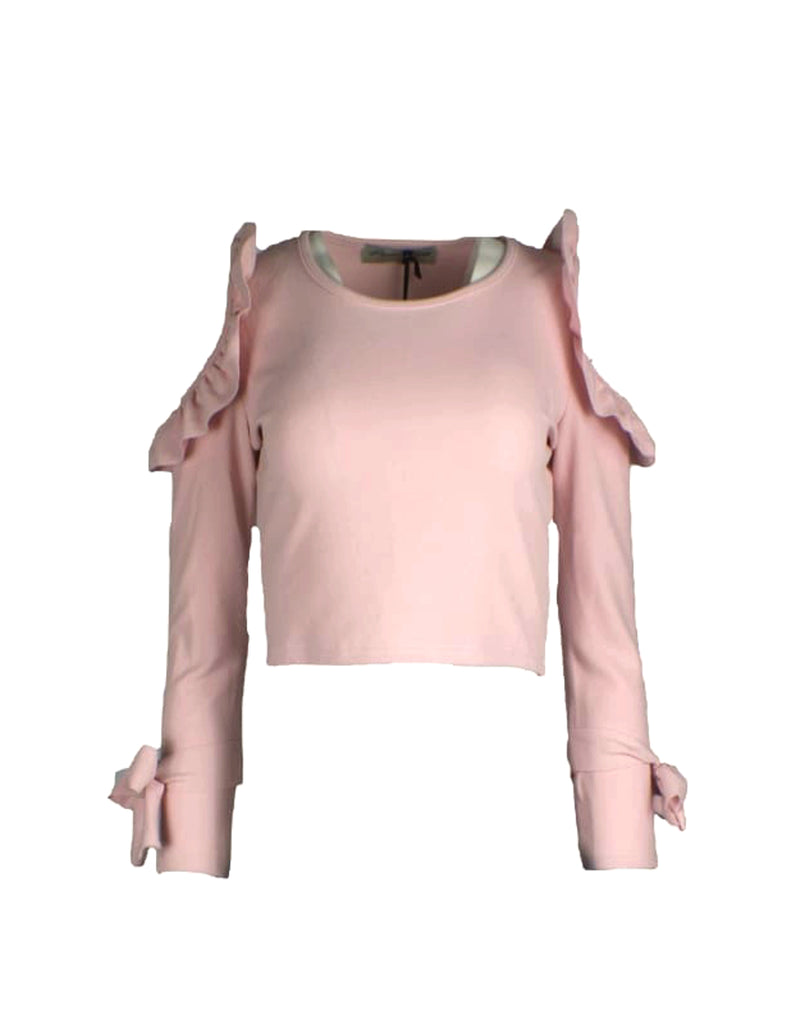 Pink Frill Detail Cold Shoulder Tie Sleeve Crop Top - 6 / PINK - Tops & Shirts blouse cami tops casual tops crop tops frill shirts