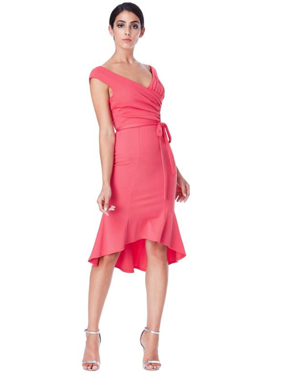 Pleated Midi Dress with Tie Detail