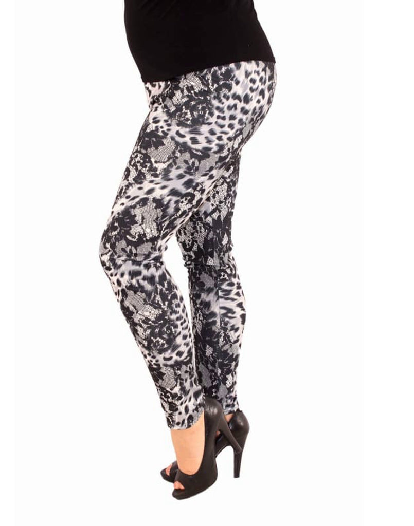 Plus Size Animal Print Scuba Leggings - UK Size 16 - 26 Black & Grey Women's Plus size Leggings