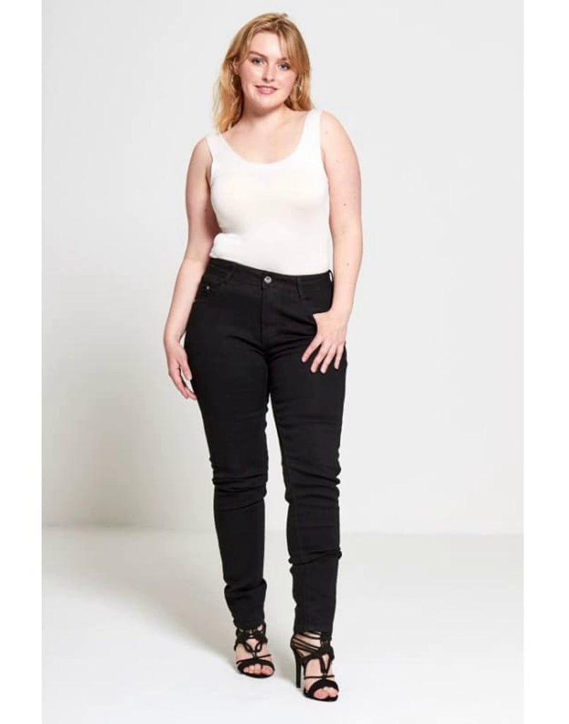 Plus Size Black Skinny Jeans - 42 / Black - Plus Size Jeans & Jeggings 2XL d1971 Dele denim denim denim trousers