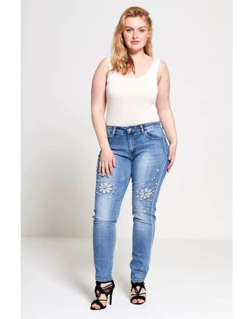 Plus Size Curve Faux Pearl Floral Jeans - 2XL / 44 / Blue - Plus Size Jeans & Jeggings denim embellished jeans trousers faux pearl floral