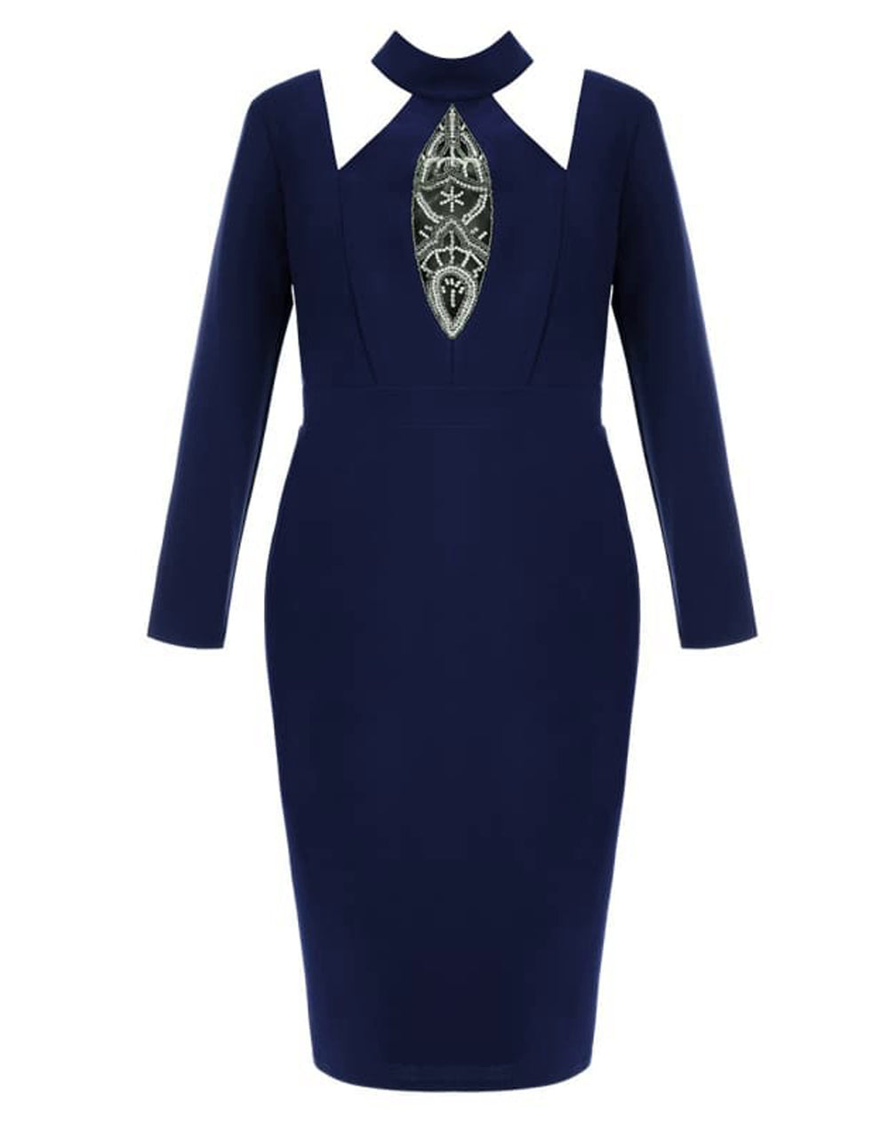 Plus Size Embellished Cut Out Midi Dress
