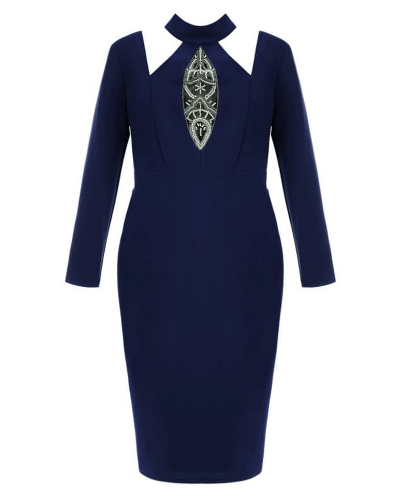 plus-size-embellished-cut-out-midi-dress-bodycon-dresses-choker-neck-citygoddess