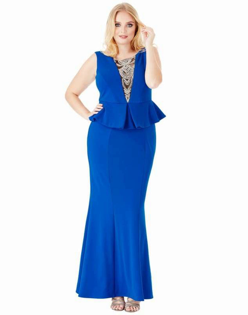 Plus Size Embellished Neckline Maxi Dress - 16 / Royal Blue - Plus Size Dresses blue dress blue maxi dress blue peplum dress dresses dresses