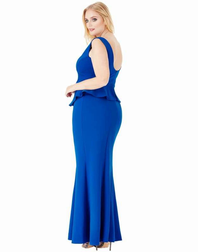 Plus Size Embellished Neckline Maxi Dress - 20 / Royal Blue - Plus Size Dresses blue dress blue maxi dress blue peplum dress dresses dresses