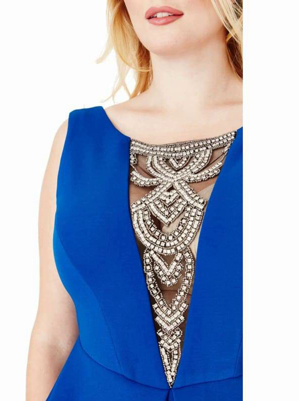 Plus Size Embellished Neckline Maxi Dress - 18 / Royal Blue - Plus Size Dresses blue dress blue maxi dress blue peplum dress dresses dresses