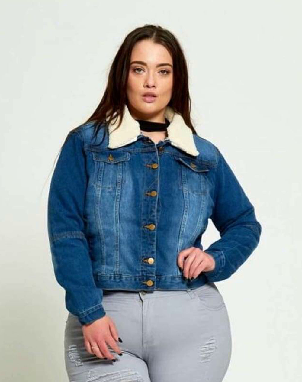 Plus Size Faux Fur Collared Denim Jacket - Front View Blue