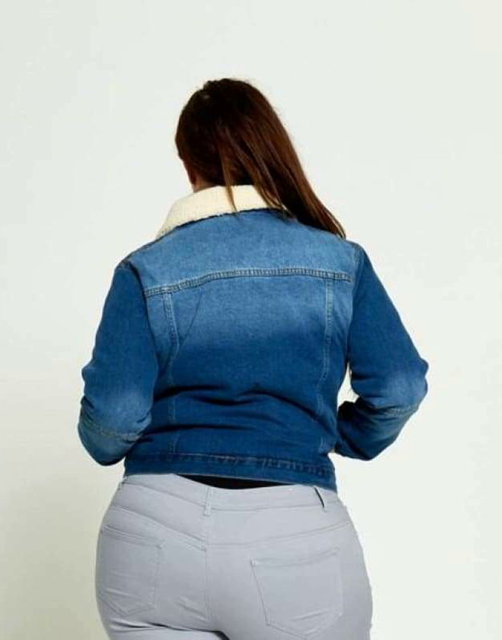 Plus Size Faux Fur Collared Denim Jacket - Back View Blue