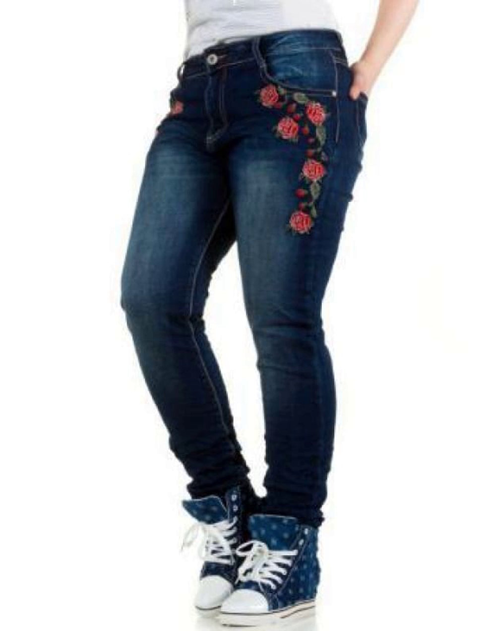 Plus Size Floral Embroidered Jeans - Plus Size Jeans & Jeggings