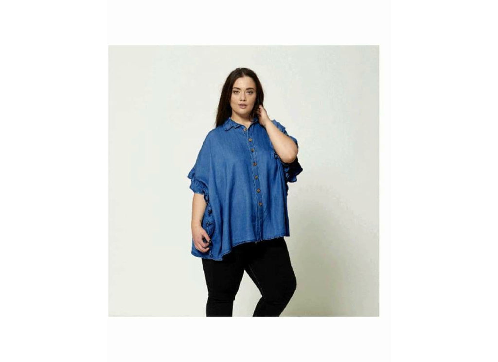 Plus Size frill sleeve Denim Shirt Top - one size fits Size20 -26 - Plus Size Tops & Shirts 241 Bat wing Shirt bat wing shirts bat wings