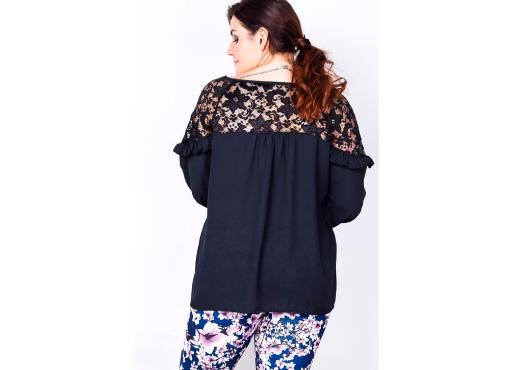 Plus Size Lace Shoulder Ruffle Blouse - Plus Size Tops & Shirts 3412p black blouses black tops lace blouses lace shoulder ruffle blouse
