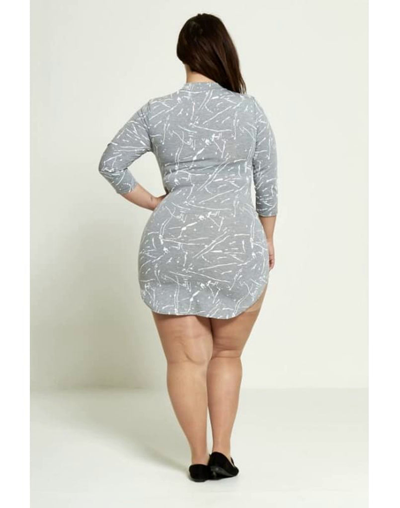 lus Size Lace-Up Plunge Dress - 16 / 18 - Plus Size Dresses d4067-plus day dresses dresses lace-up dress lace-up plunge dress