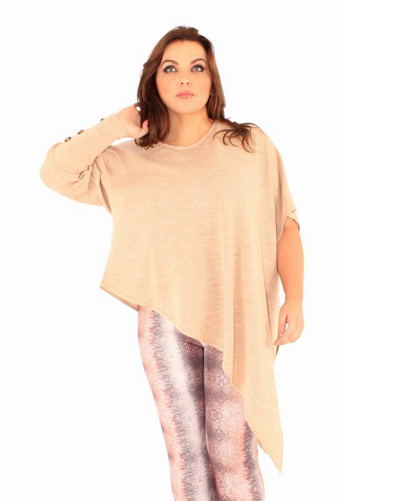 Plus Size Oatmeal Asymmetric Tunic Sweater - Plus Size Tops & Shirts asymmetric hem tops asymmetric tunics camden (c) asymmetric tunic
