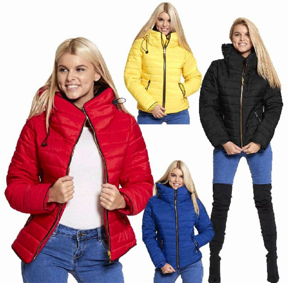 Plus Size Quilted Padded Puffer Jacket - 16/Red