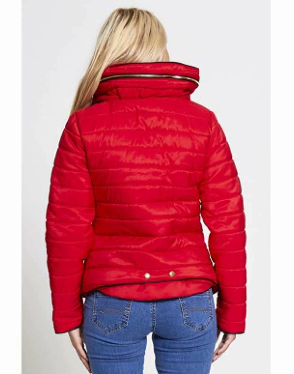 Plus Size Quilted Padded Puffer Jacket - Back View