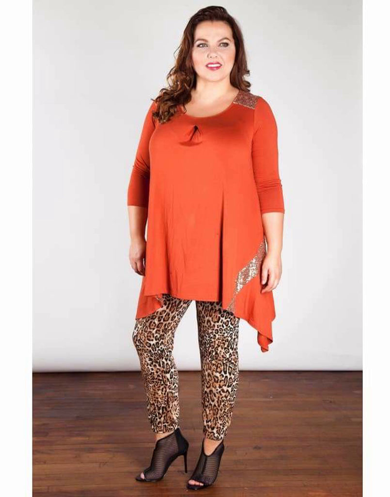 Sequin Panel Tunic Top - 16/18 / Rust - Plus Size Tops & Shirts 3310p asymmetric tunics blouses flattering plus size tunics plus size