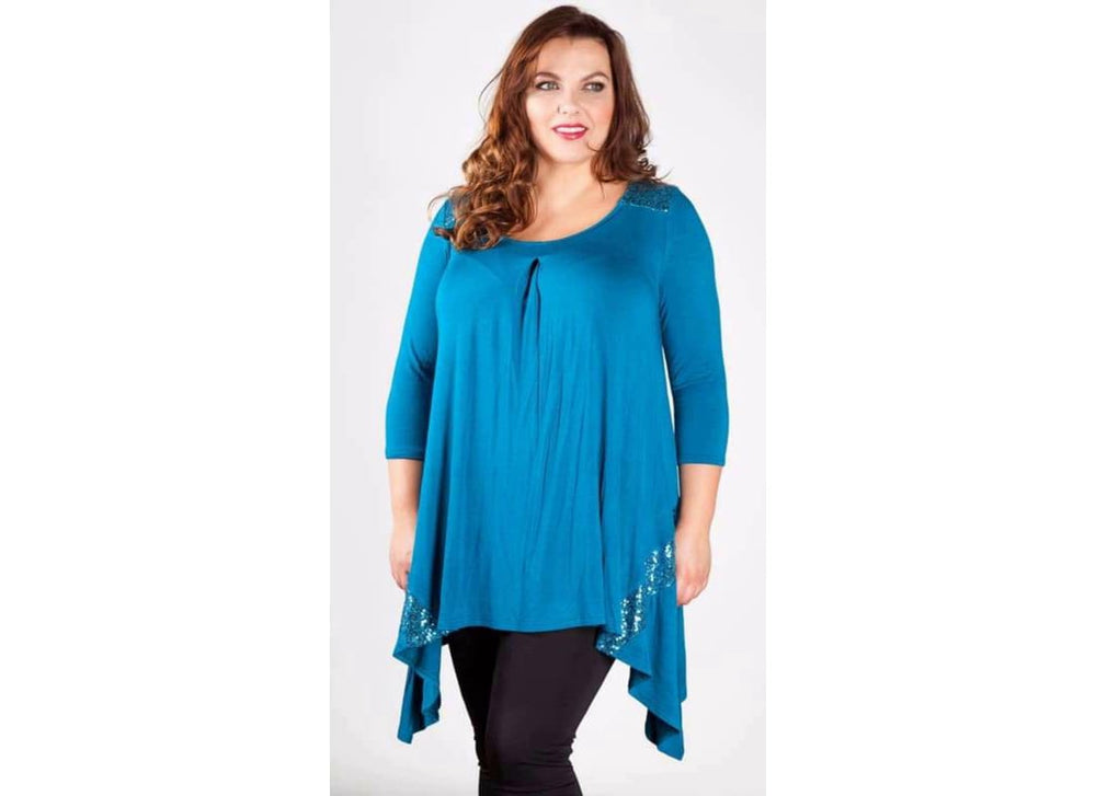 Plus Size Sequin Panel Tunic Top - 16/18/Teal