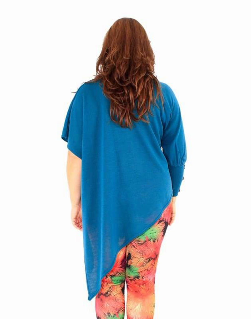 Plus Size Teal Asymmetric Tunic Sweater - Plus Size Tops & Shirts asymmetric hem tops asymmetric tunics blouses camden (c) asymmetric tunic