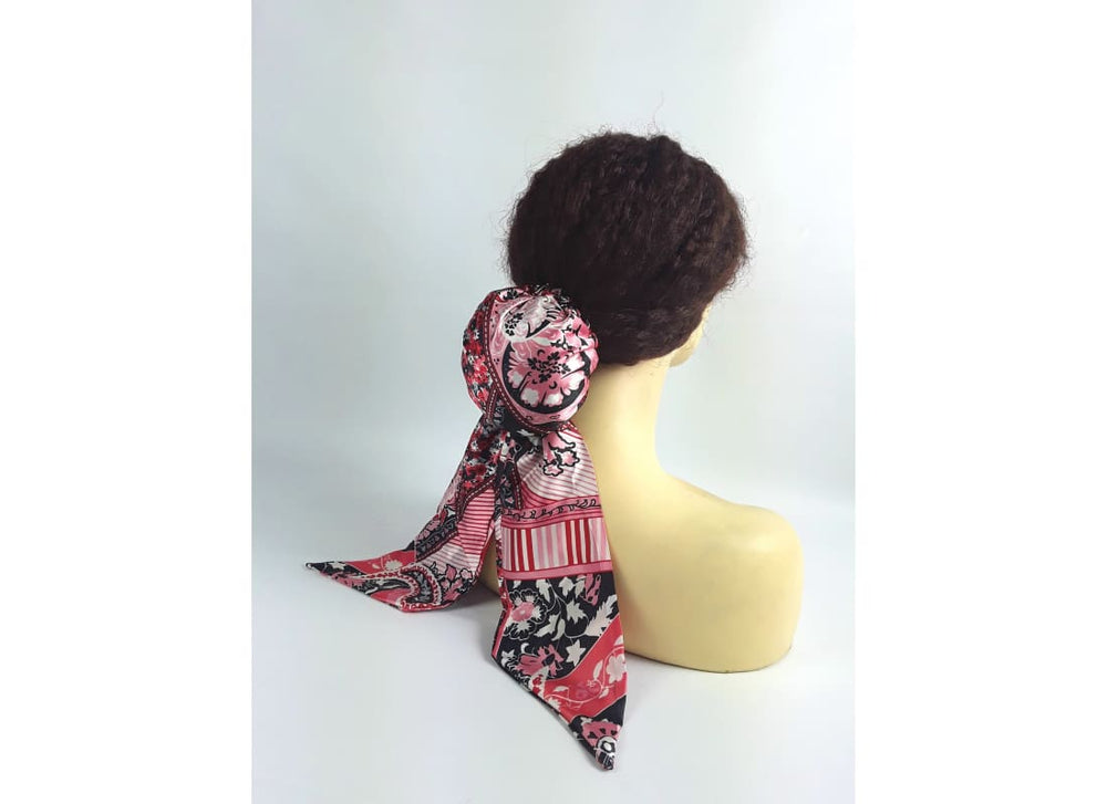Pre Tied Scarf - One Size / Pink - Head Scarf Accessories, Black, Bun, Chignon, Hair Accessories