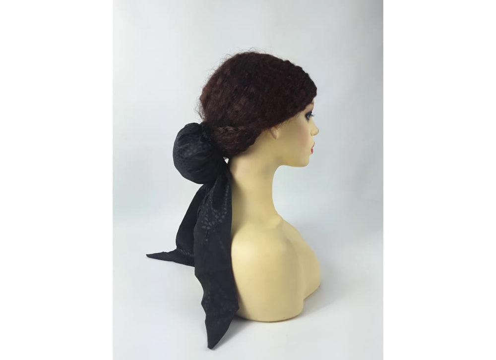 Pre Tied Scarf - One Size / Black - Head Scarf Accessories, Black, Bun, Chignon, Hair Accessories