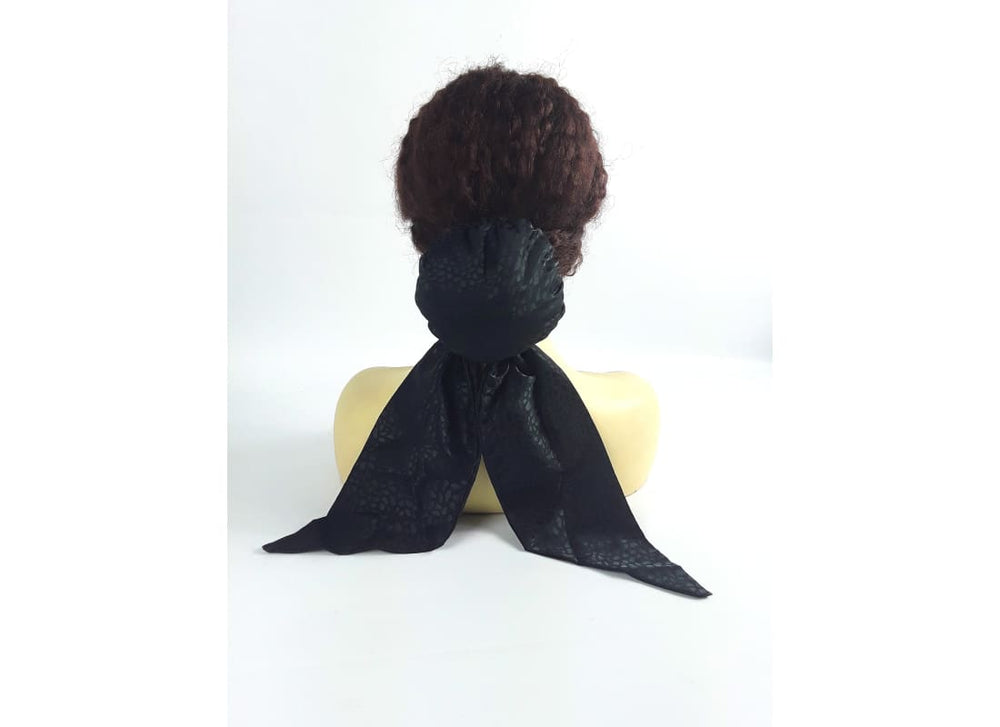 Pre Tied Scarf - Head Scarf Accessories, Black, Bun, Chignon, Hair Accessories