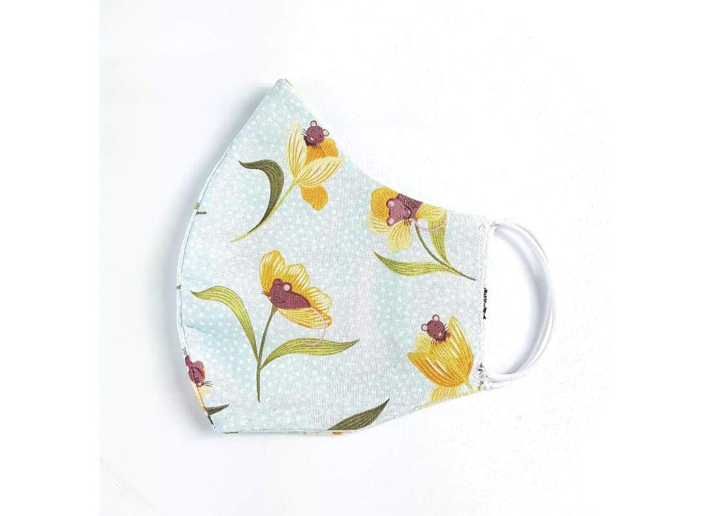 Washable & Reusable Face Mask - Face Masks Adult Face Masks, Cotton Face Mask, Cream Floral, fabric face mask, Face Mask