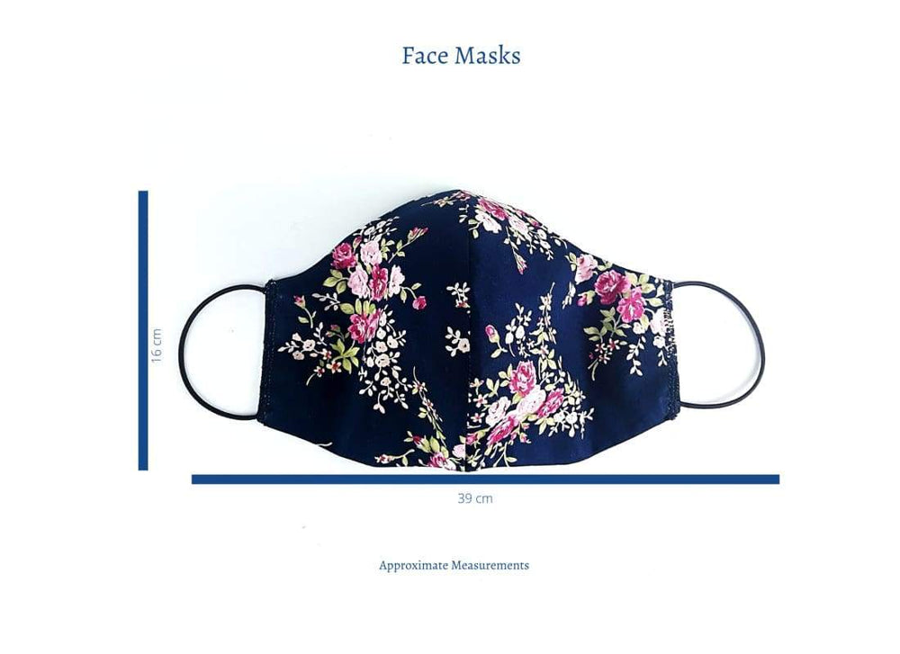 Washable & Reusable  Face Mask - One Size / Spotty Yellow Flower - Face Masks Adult Face Masks, Cotton Face Mask, Cream Floral, fabric face mask, Face