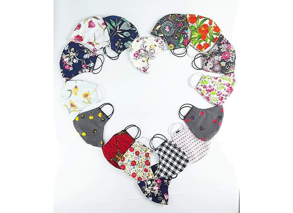 Protective Unisex Reusable Floral Cotton Face Mask - Face Masks Adult Face Masks, Washable Facial Mask, Cream Floral, fabric face mask, Face Mask