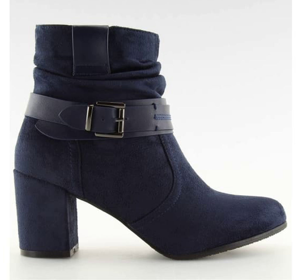 Pull Up Block Heel Boots - Footwear block heel boots, block heel shoes, blue shoes, Booties, boots