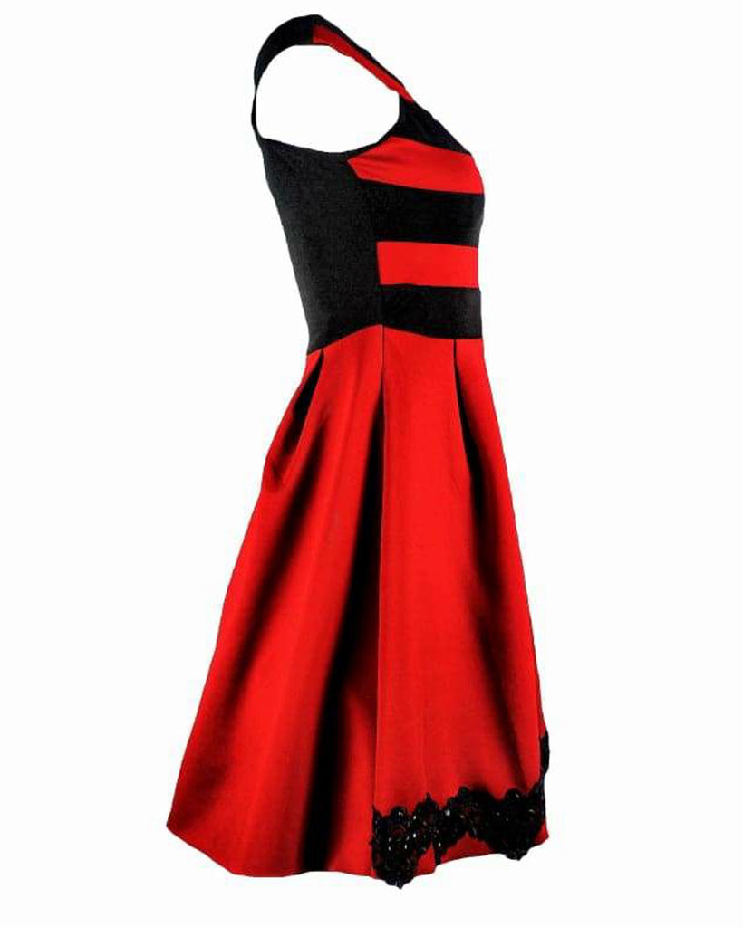 Red and Black Bardot Prom Dress