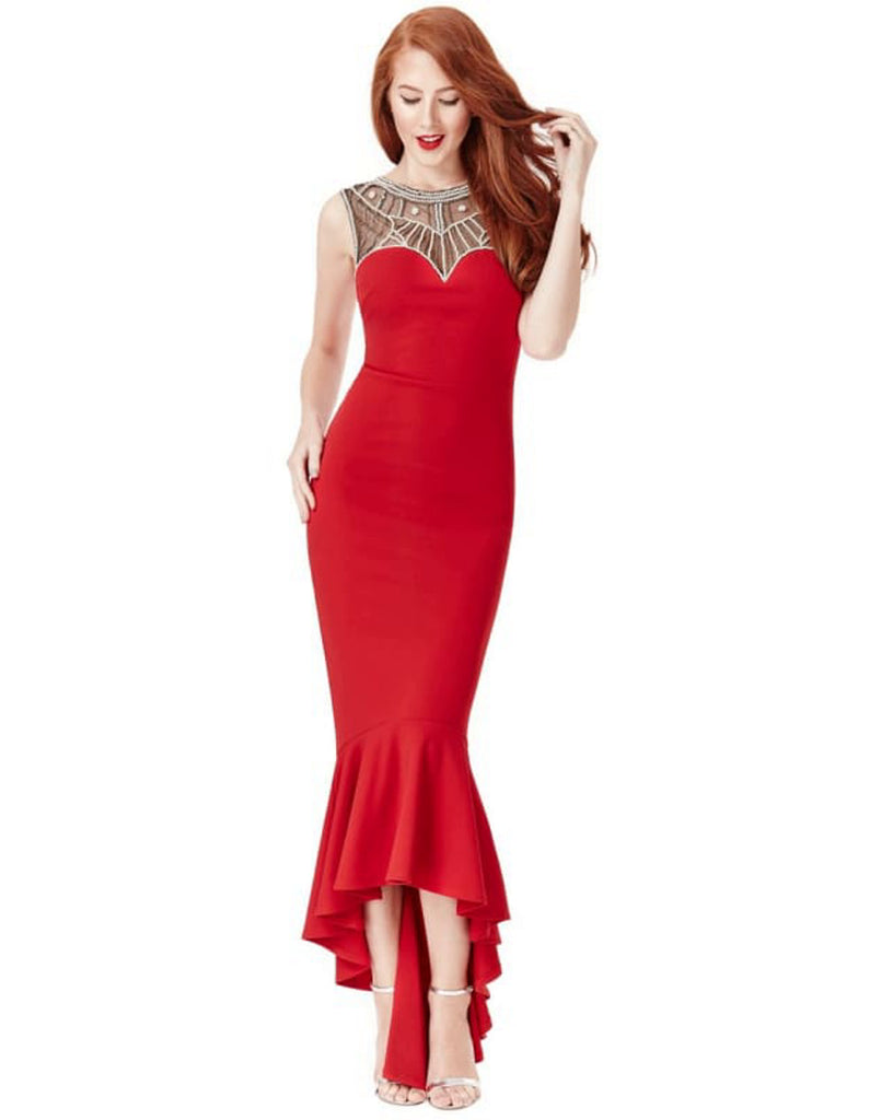 Red Embellished Fishtail Maxi Dress - Dresses bodycon dress, bodycon dress with fish tail, bodycon dresses, bodycon maxi dress, citygoddess