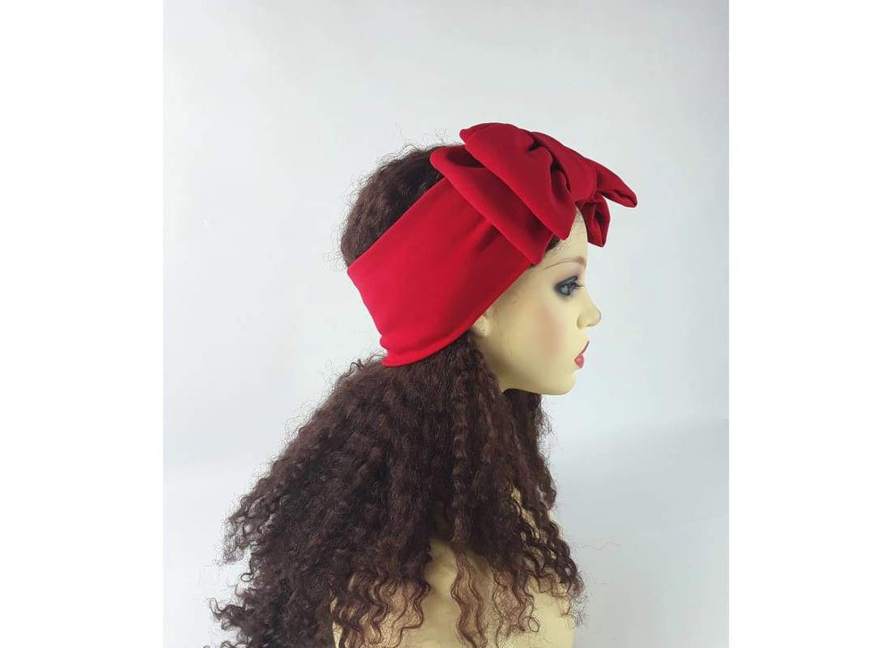 Red Headband with Bow - One Size / Red - Headbands Double Bow Headband, Handmade, Headbands, Semi Turban Headband, Summer Hairband
