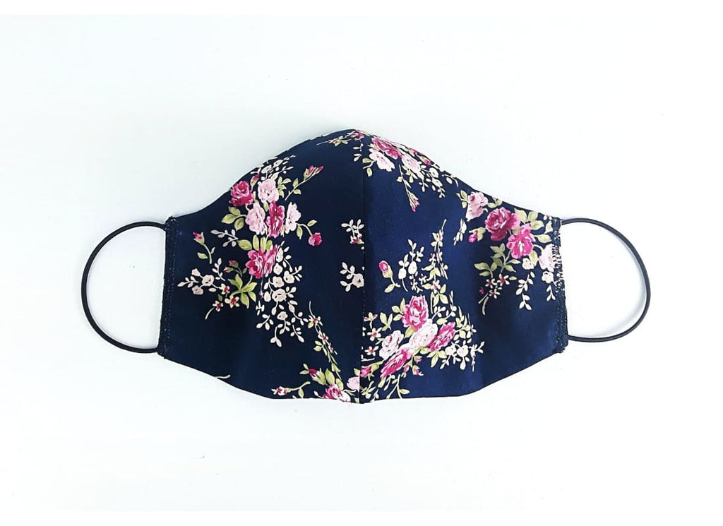 Reusable Floral Cotton Face Mask - Adult / Navy / Double Layers - Face Masks Adult Face Mask, Bags & Accessories, Cotton Face Mask, Double