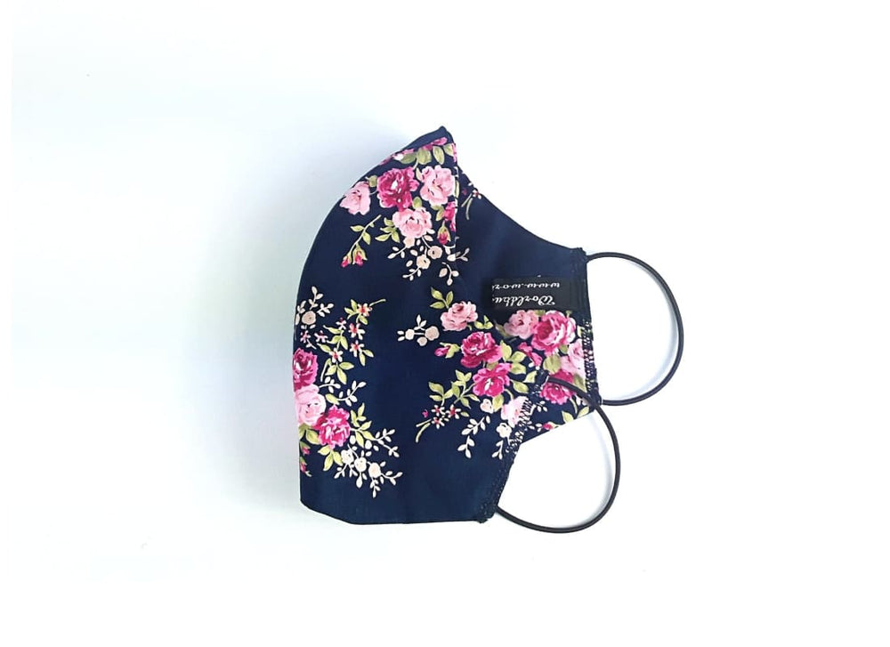 Reusable Floral Cotton Face Mask - Adult / Navy / Triple Layers - Face Masks Adult Face Mask, Bags & Accessories, Cotton Face Mask, Double