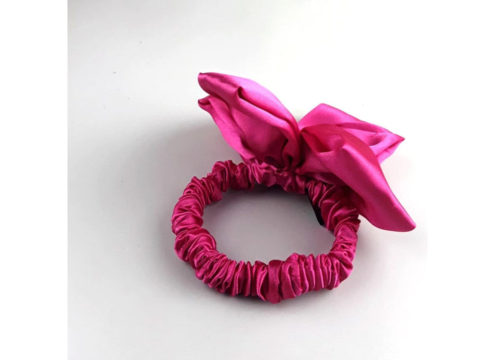 Satin Scrunchie with Flower Detail - Handmade Bags & Accessories Hair Accessories Hair Jewellery Hair Tie Handmade PonytailHolder Hair Tie
