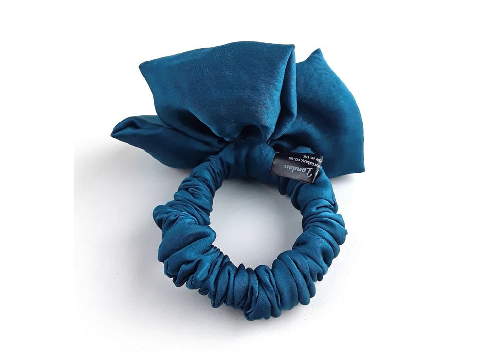 Satin Silk Hair Scrunchie - Back View  Colour - Teal  Handmade Bags & Accessories Hair Accessories Hair Tie Handmade Ponytail Holder skinny scrunchie