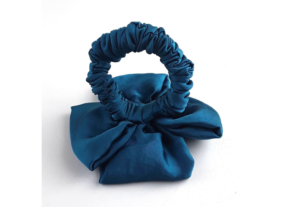 Satin Silk Hair Scrunchie -  Colour- Teal  Handmade Bags & Accessories Hair Accessories Hair Tie Handmade Ponytail Holder skinny Scrunchie