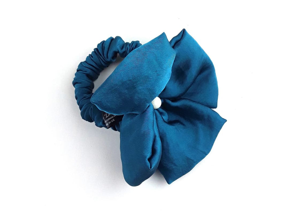 Satin Silk Hair Scrunchie -  Front View Colour- Teal Handmade Bags & Accessories Hair Accessories Hair Tie Handmade Ponytail Holder skinny scrunchie