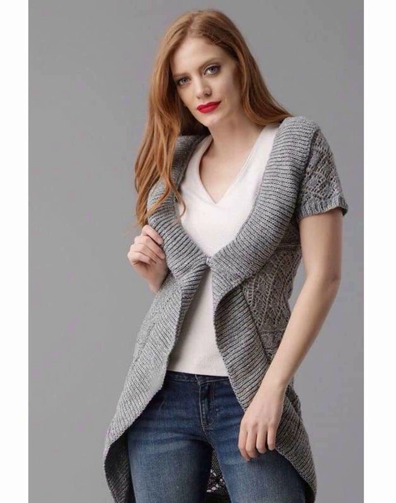 Short Sleeve Longline Waterfall Cardigan