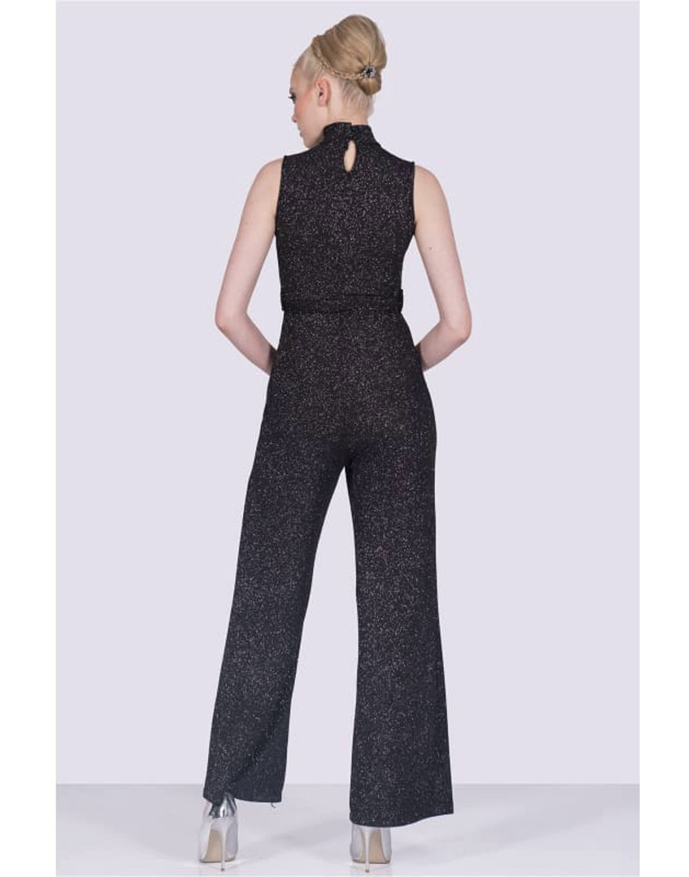 Sleeveless Halter Neck Jumpsuit - Back View